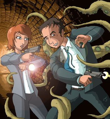 Mulder and Scully VS Tentacles by coldangel1.jpg